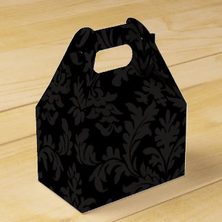 Black And Gray Floral Damask Wedding Party Party Favour Box