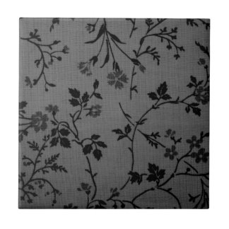 black and gray flower pattern small square tile