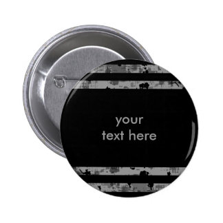 Black and gray grungy striped punk button
