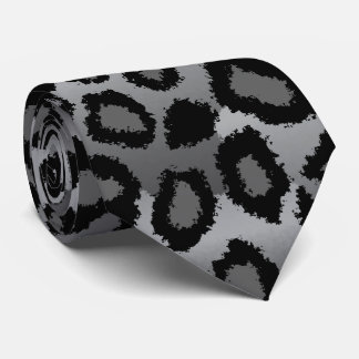 Black and Gray Jaguar Print Tie