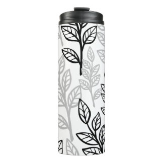 Black and Gray leaves Thermal Tumbler
