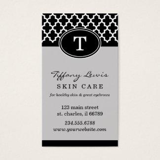 Black and Gray Monogram Moroccan Print Business Card