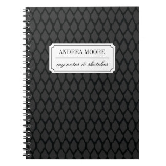 Black and Gray Ogee Patterned Custom Text Notebook