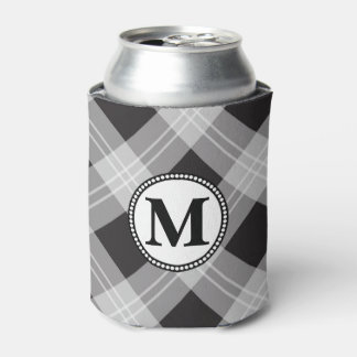 Black and Gray Pattern Monogram Can Cooler