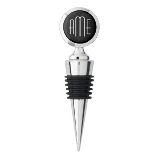 Black and Gray Personalized Triple Monogram Wine Stopper