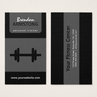 Black and Gray Pinstripe Dumbbell Personal Trainer Business Card