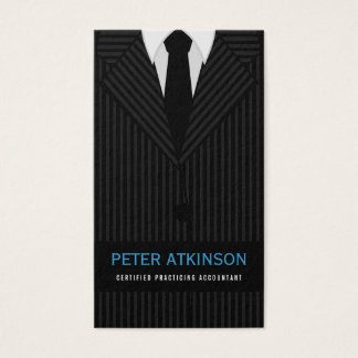 Black and Gray Pinstripe Suit Vertical Accountant Business Card