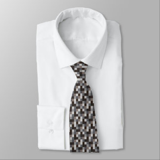 Black and Gray Pixelated Pattern   Gamer Tie