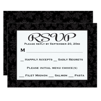 Black And Gray RSVP Damask Floral Wedding / Party 9 Cm X 13 Cm Invitation Card