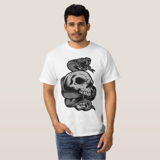 Black and Gray Snake With Skull T-Shirt