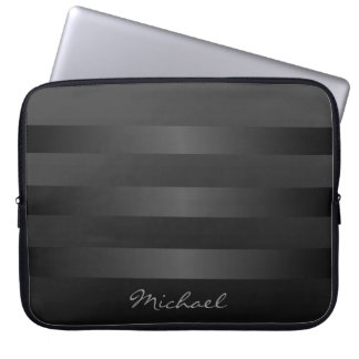 Black and Gray Stripes  Monogram Laptop Sleeve