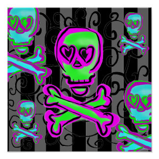 Black and Gray Swirls with Neon Skulls Poster