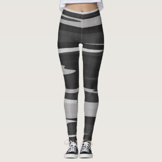 Black and Gray Textured Camo Leggings