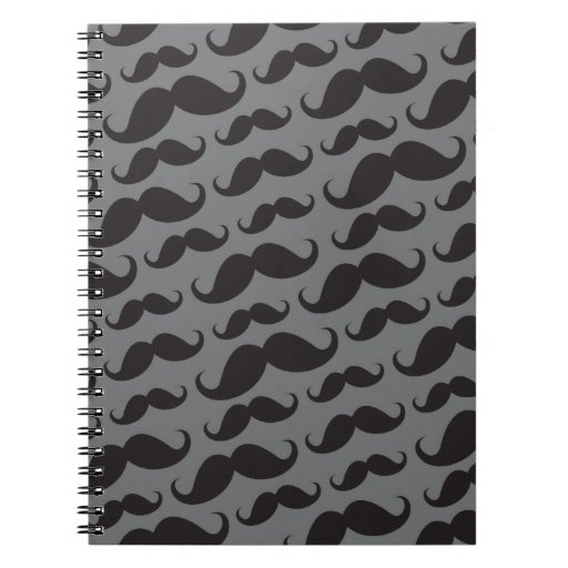 Black and gray trendy funny mustache pattern note book