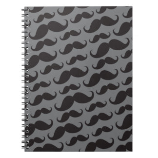 Black and gray trendy funny mustache pattern notebooks