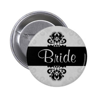 Black and gray victorian damask bride wedding pinback buttons