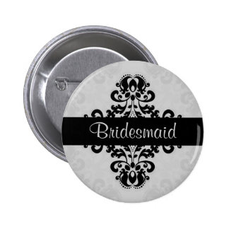 Black and gray victorian damask bridesmaid wedding 6 cm round badge