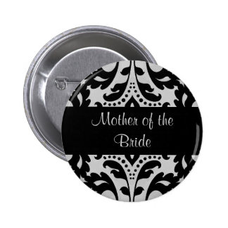 Black and gray victorian damask mother of bride 6 cm round badge