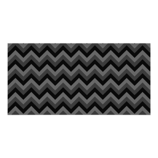 Black and Gray Zig Zag Pattern. Customized Photo Card