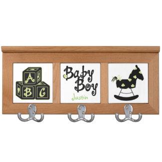 Black and Green Baby Boy Customizable Coat Rack