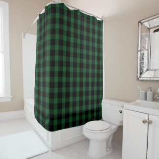 Black and Green Buffalo Check Rustic Shower Curtain