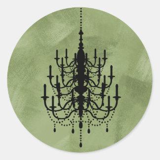 Black and Green Chandelier Wedding Seal Round Sticker