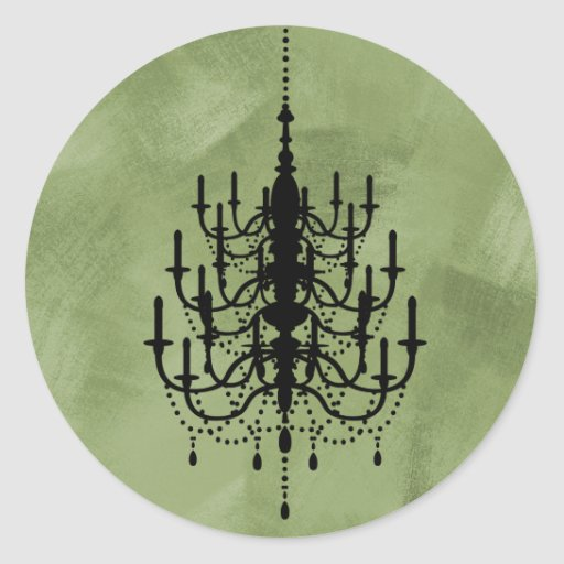 Black and Green Chandelier Wedding Seal Stickers