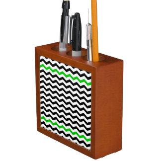 Black and Green Chevron Zigzag Desk Organizer Pencil/Pen Holder