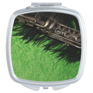 Black and Green Clarinet Travel Mirror