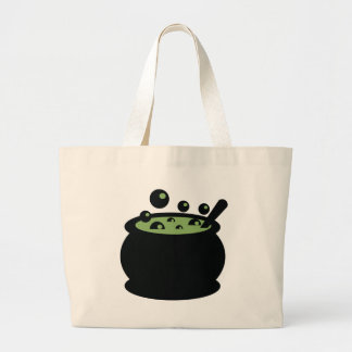 Black and Green Cooking Pot Large Tote Bag