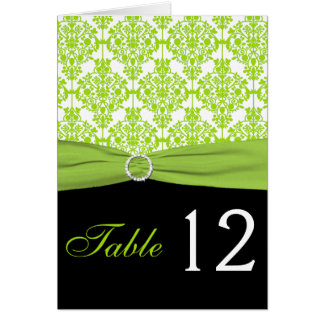Black and Green Damask Table Number Card