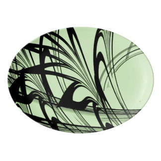Black and Green Fern Glen Porcelain Serving Platter
