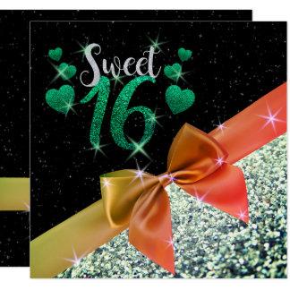 Black and Green Glittery Sweet 16 Invite