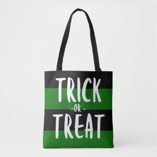 Black and Green Halloween Trick Or Treat Tote Bag