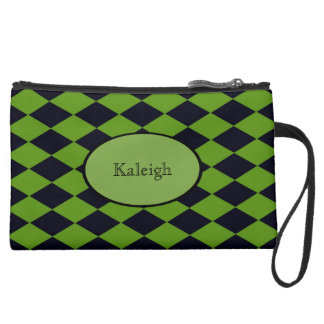 Black and Green Harlequin Sueded Monogram Suede Wristlet