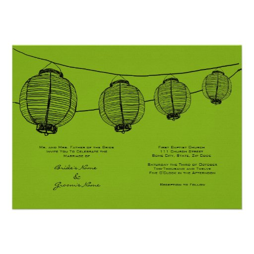 Black and Green Lanterns Wedding Invitation