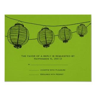 Black and Green Lanterns Wedding RSVP 11 Cm X 14 Cm Invitation Card
