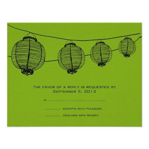 Black and Green Lanterns Wedding RSVP Personalized Invite