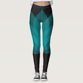 Black and green lotus design leggings