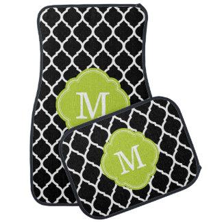 Black and Green Moroccan Quatrefoil Monogram Floor Mat