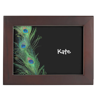 Black and Green Peacock Feather Keepsake Box