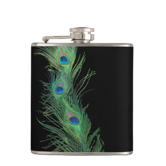 Black and Green Peacock Feathers Hip Flask