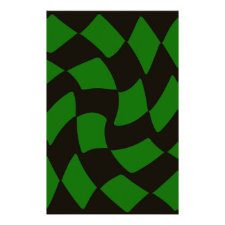 Black and Green Warped Checkerboard Stationery