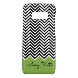 Black and GREENERY Modern Chevron Custom Monogram Case-Mate Samsung Galaxy S8 Case