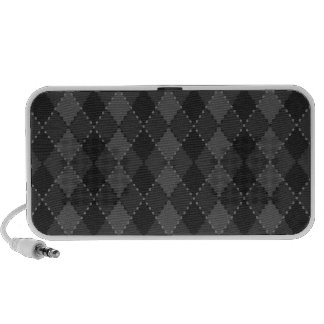 Black and grey argyle pattern portable speakers