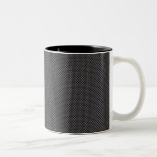 Black and Grey Carbon Fibre Polymer Two-Tone Coffee Mug