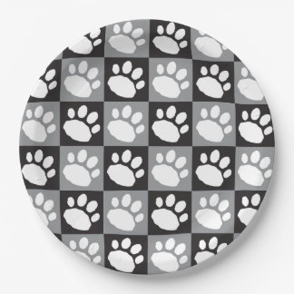 Black and Grey Checkerboard Paw Print Paper Plate