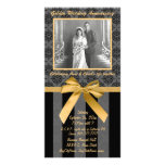 Black And Grey Damask Golden Anniversary Card Photo Card
