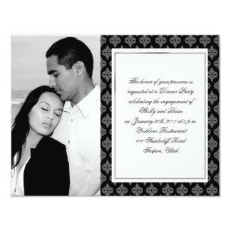 Black and Grey Diamond Damask Wedding Engagement Card