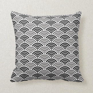 Black And Grey Dragon Scale Kimono Pattern Cushion